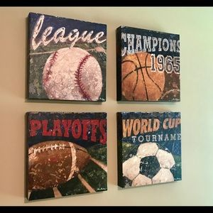 Sports Canvas Wall Hangings - Set of 4